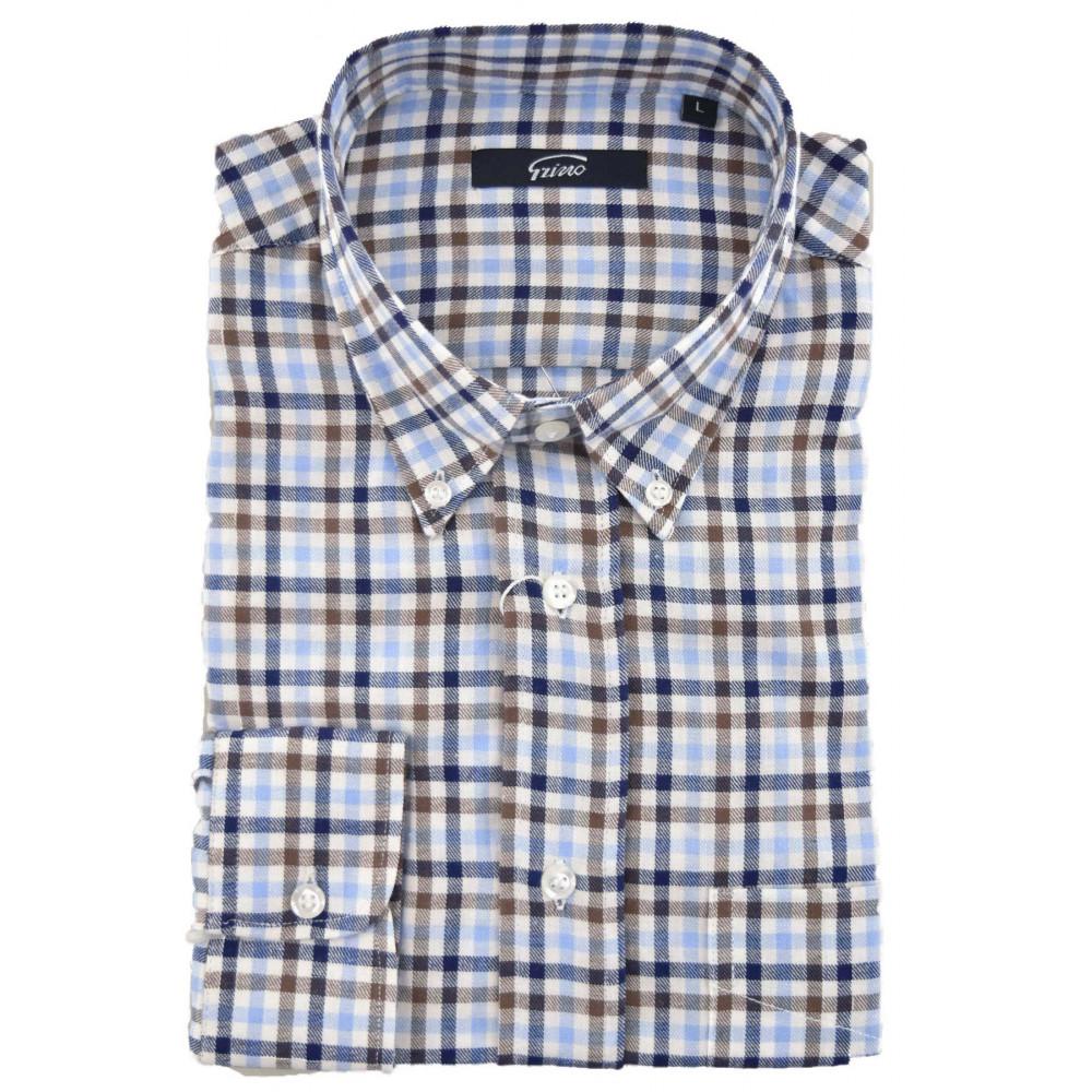 Button Beige Blu Quadri Uomo Flanella Camicia Classica Leggera IqPBww0