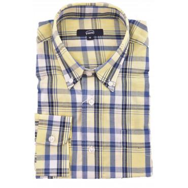 Man Shirt Classic Button-Down Frameworks Plaid Poplin - Grino