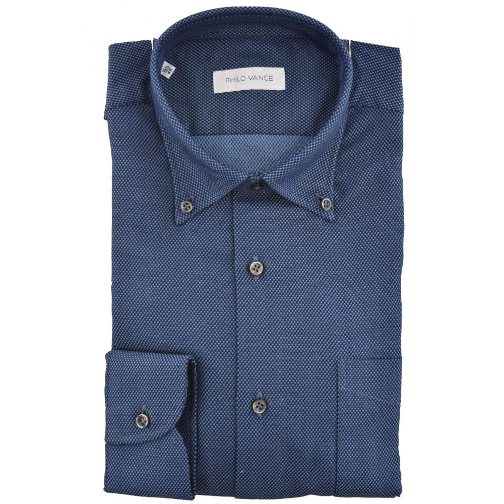Camicia Uomo Button Down Armaturato Punta Spillo - Philo Vance - Laveno