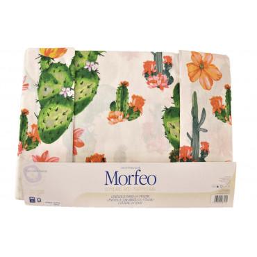 Completo Lenzuola Stampa Cactus Sotto Angoli Puro Cotone - Morfeo