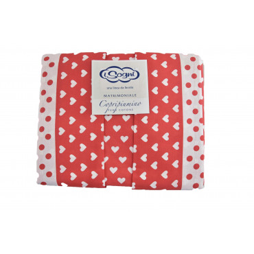 Duvet cover Pure Cotton with polka Dots and Hearts - Dreams