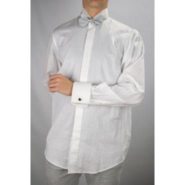 Camicia Uomo Smoking Collo Coda di Rondine Polsino Gemelli  Popeline Bianca - Lawrence Abbigliamento Uomo