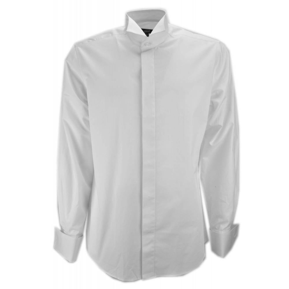 Homme chemise Smoking Col Avaler la Queue de Manchette boutons de manchette en Popeline Blanche - Laurent de la mode masculine