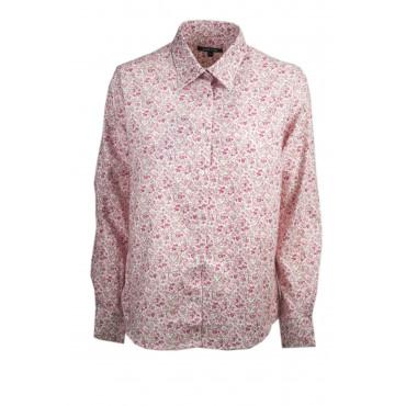 Camicia Donna Classica Fiorellini Rosa su Bianco Cotone Flanella