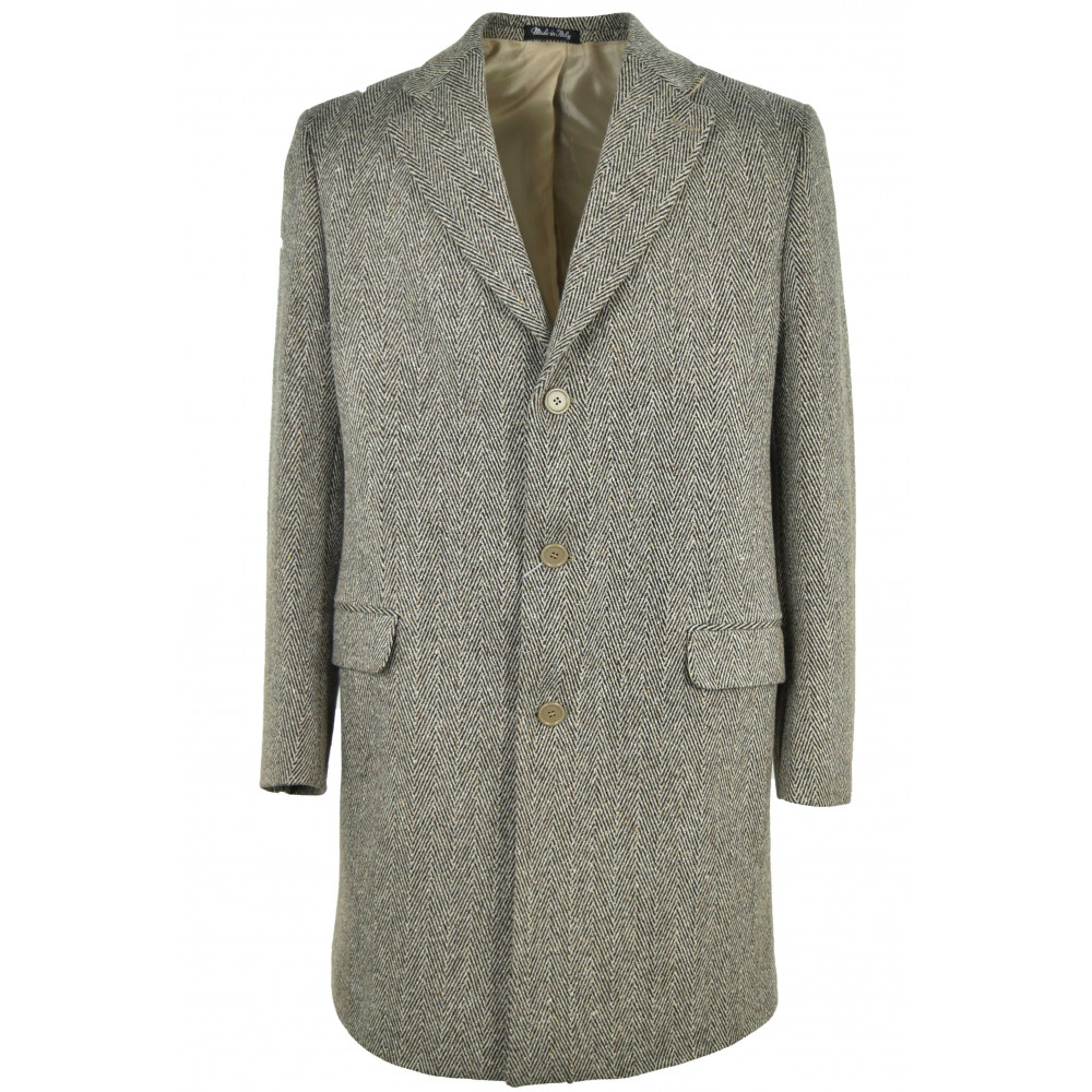 Cappotto 3 4 da uomo in tessuto panno lana di misto lana beige con motivo  diagonale a spina di pesce marrone. Modello dritto e6103c1f8e3