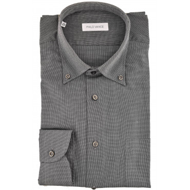 Camicia Uomo Classica grigio scuro Armaturato collo Button Down - Conero