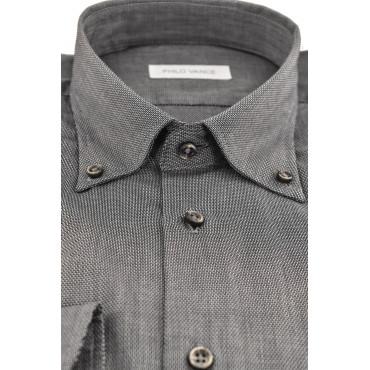 Camicia Uomo Classica grigio scuro Armaturato collo Button Down - Conero