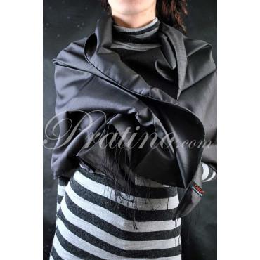Laura Biagiotti Stola Nero Sciarpa Grande Shantung Pura Seta 70x180 -  Abbigliamento Donna