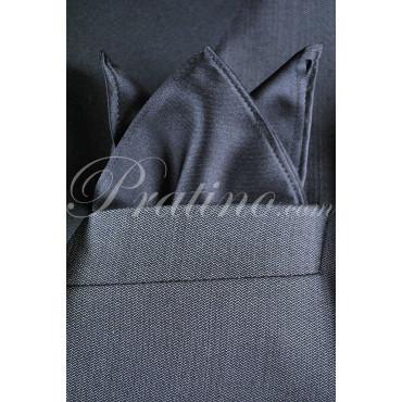 Pochette Fazzoletto Taschino Uomo Nero   Raso 100% Pura Seta TintaUnita -  Cravatte ed Accessori