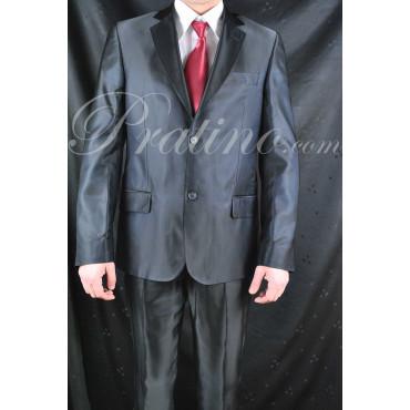 Abito Uomo 50 2Bottoni Slim Elegante Nero Righine Blu Lucente 30188 - Incom Montecatini Abiti Uomo, Giacche e Giubbotti