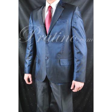 Abito Uomo 50 Slim Nero Righine Blu Lucente Elegante 2Bottoni 30190 - Incom Montecatini Abiti Uomo, Giacche e Giubbotti