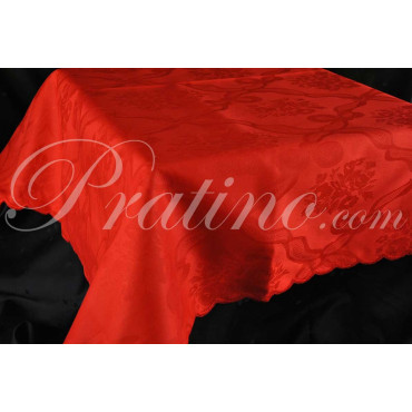Tovaglia Rettangolare x8  Fiandra Rossa Rombi Bouquet  +8 Tovaglioli 160x220 8050 - Manifattura Toscana Biancheria Tavola e Cuci