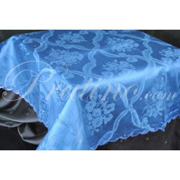 Tovaglia Rettangolare x12 Fiandra Blu Scuro Rombi Bouquet  senza Tovaglioli 180x270 8054 - Manifattura Toscana Biancheria Tavola
